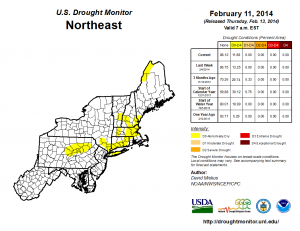 The current drought monitor map of the Northeast.